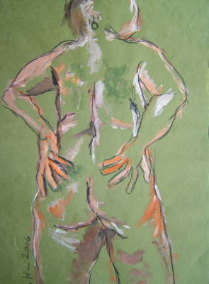 Rückenakt - 80 x 60 cm - Acryl, Ölkreide auf Bütten (c) Zeichnung von Susanne Haun