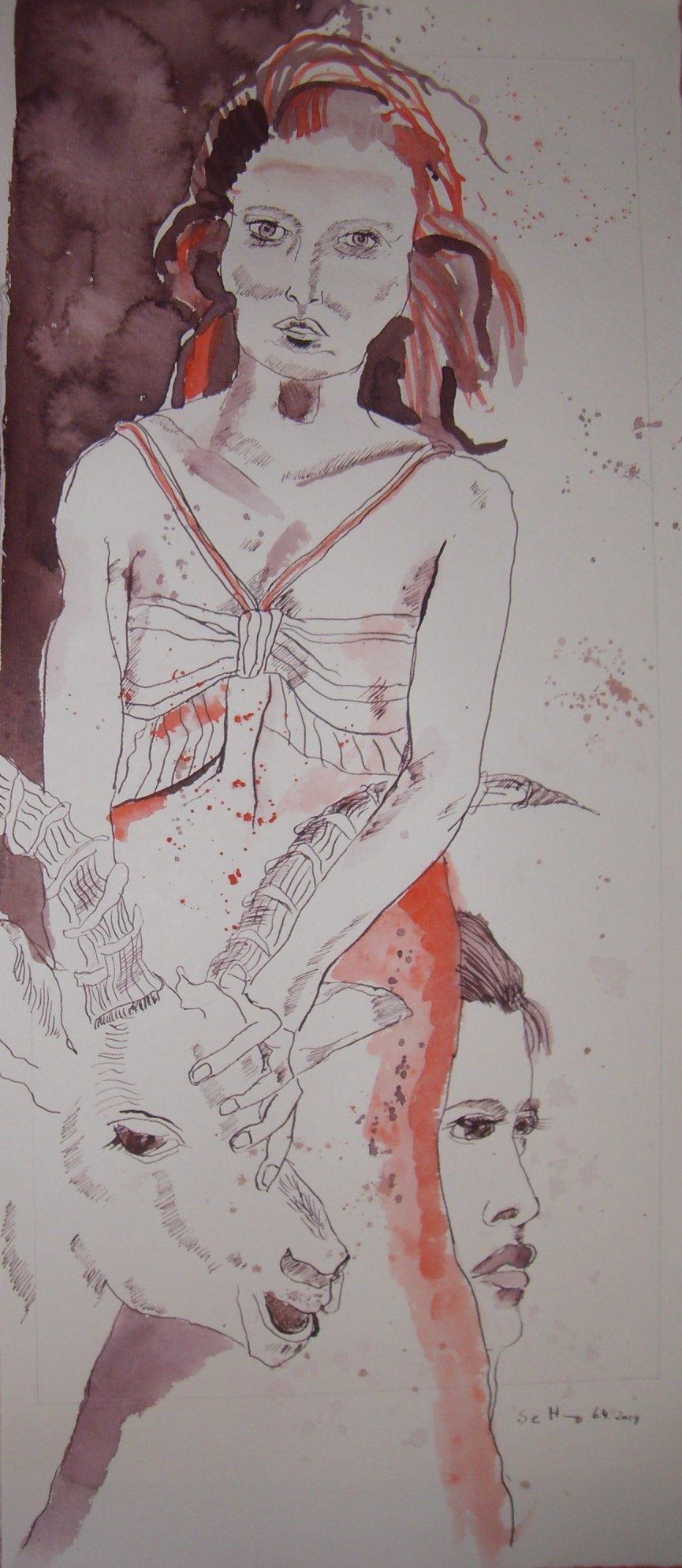 Tagebucheintragung 6.4.2009, Tusche und Aquarell auf Bütten, 56 x 25 cm