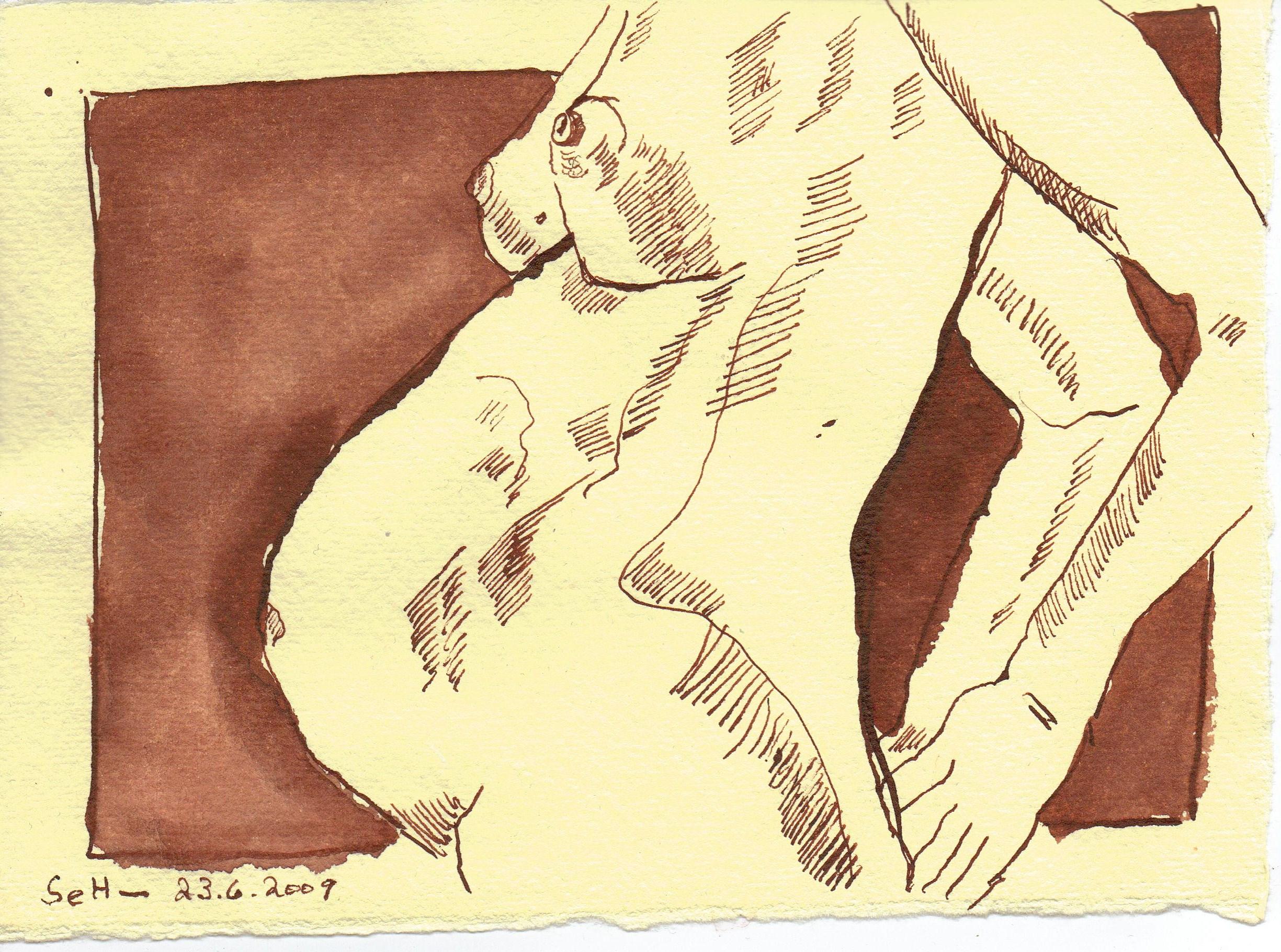 Sie ist schwanger - Zeichnung von Susanne Haun