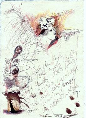 Das Buch Henoch - Engel 1 - Zeichnung von Susanne Haun - 20 x 15 cm - Tusche und Buntstift auf Bütten