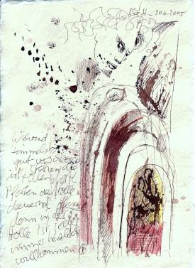 Das Buch Henoch - Engel 7 - Zeichnung von Susanne Haun - 20 x 15 cm - Tusche und Buntstift auf Bütten