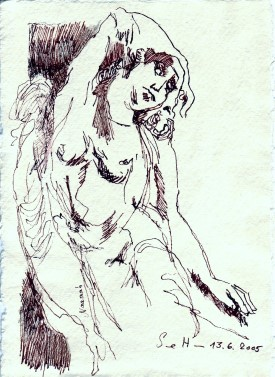 Das Buch Henoch - Engel 8 - Zeichnung von Susanne Haun - 20 x 15 cm - Tusche und Buntstift auf Bütten