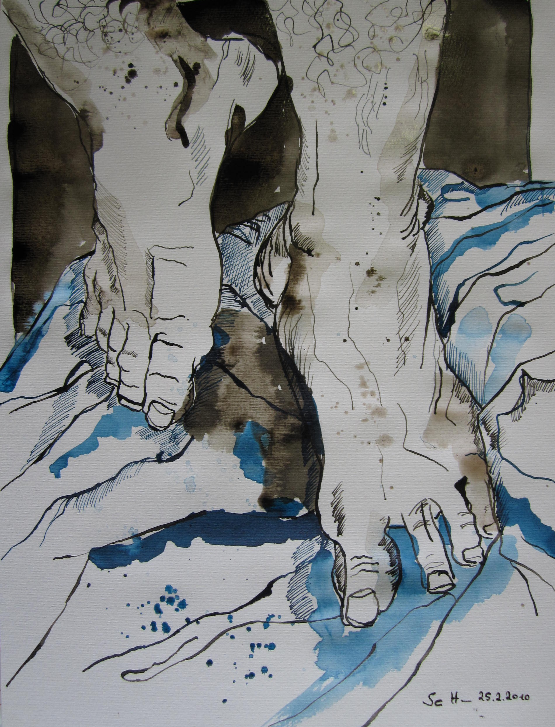 Mit den Füssen Tanzen - Dáires Freude - Zeichnung von Susanne Haun - 40 x 30 cm - Tusche auf Aquarellpapier (c) VG Bild-Kunst, Bonn 2019