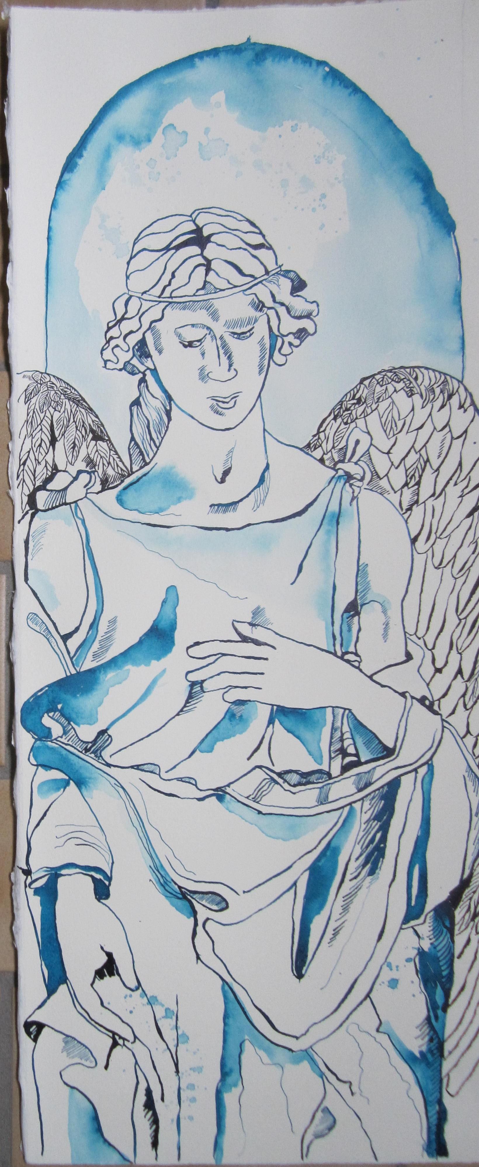 Engel Fonte Gaia - Zeichnung von Susanne Haun - 60 x 25 cm - Tusche auf Kupferdruckkarton