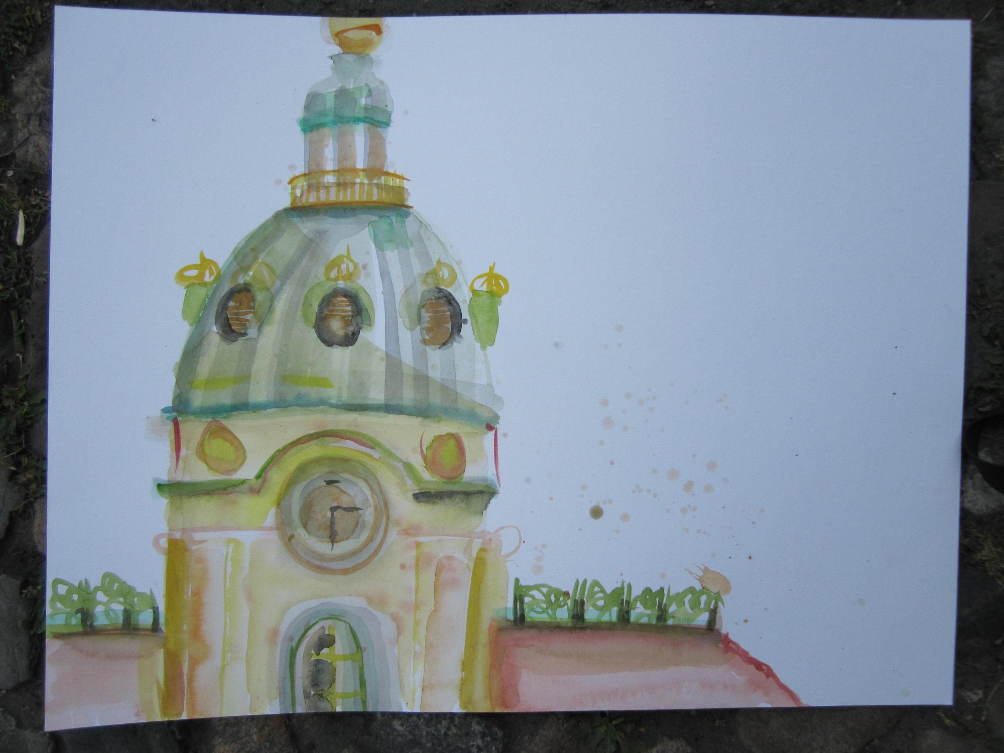 3. Anlage Schloss Charlottenburg - Aquarell von Susanne Haun auf Hahnemühle Leonardo 50 x 70 cm