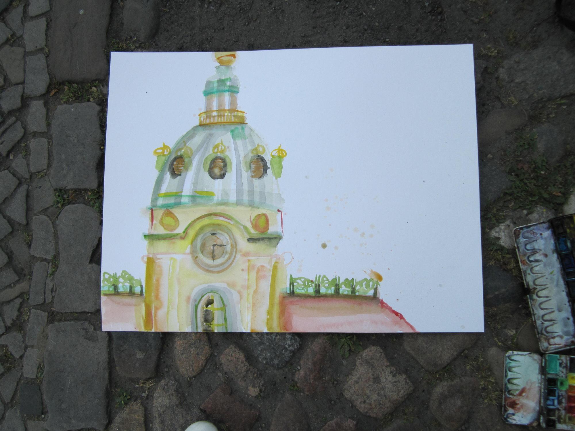2. Anlage Schloss Charlottenburg - Aquarell von Susanne Haun auf Hahnemühle Leonardo 50 x 70 cm