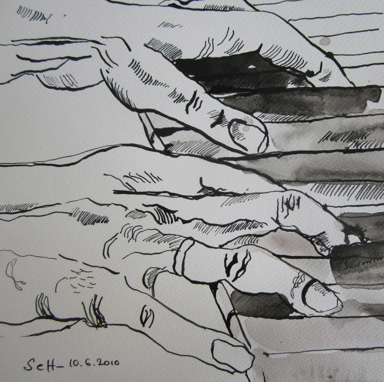 Hände am Klavier 1 - Skizze von Susanne Haun - 20 x 20 cm - Tusche auf Bütten