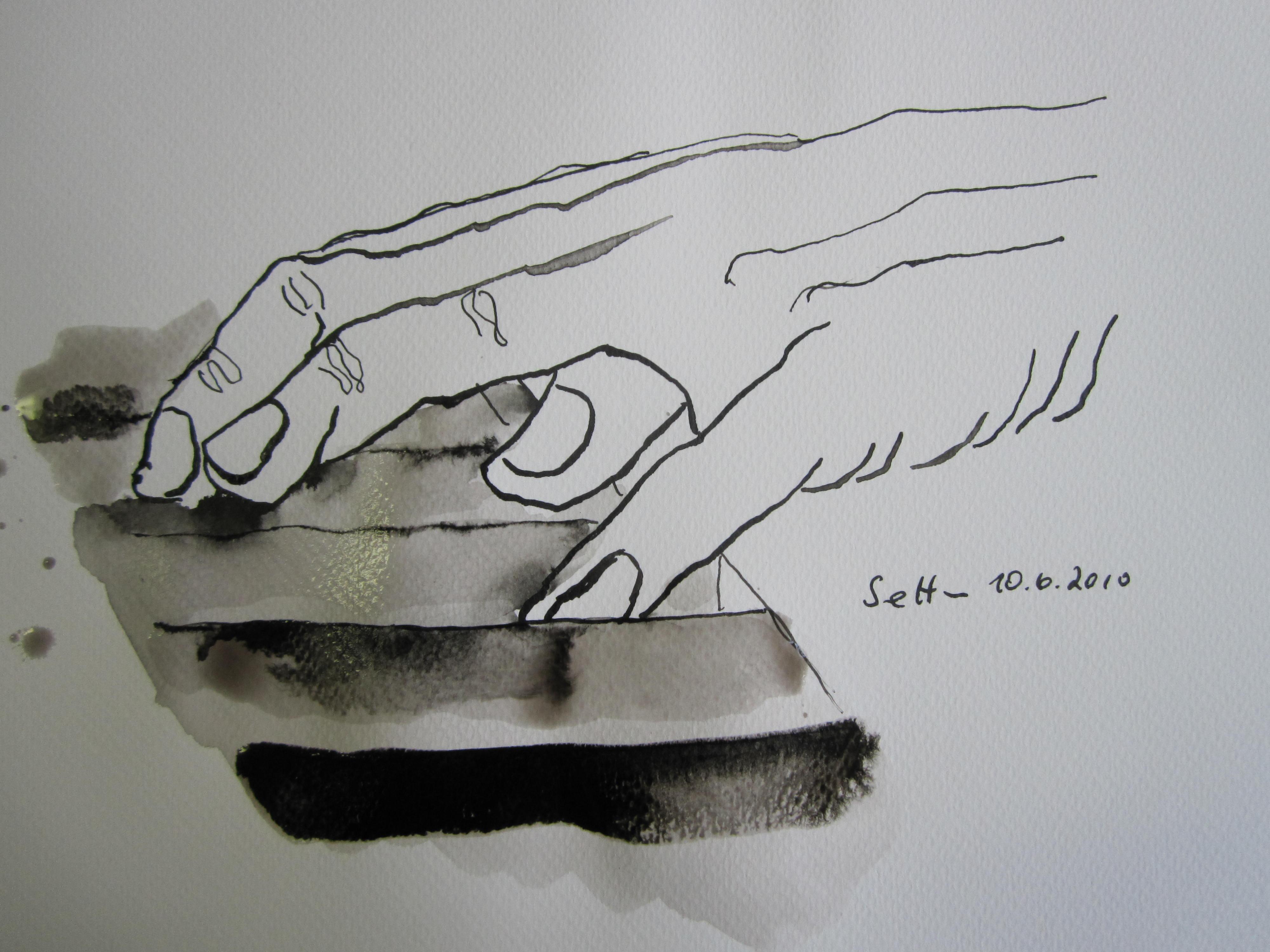 Hände am Klavier 3 - Skizze von Susanne Haun - 20 x 30 cm - Tusche auf Bütten