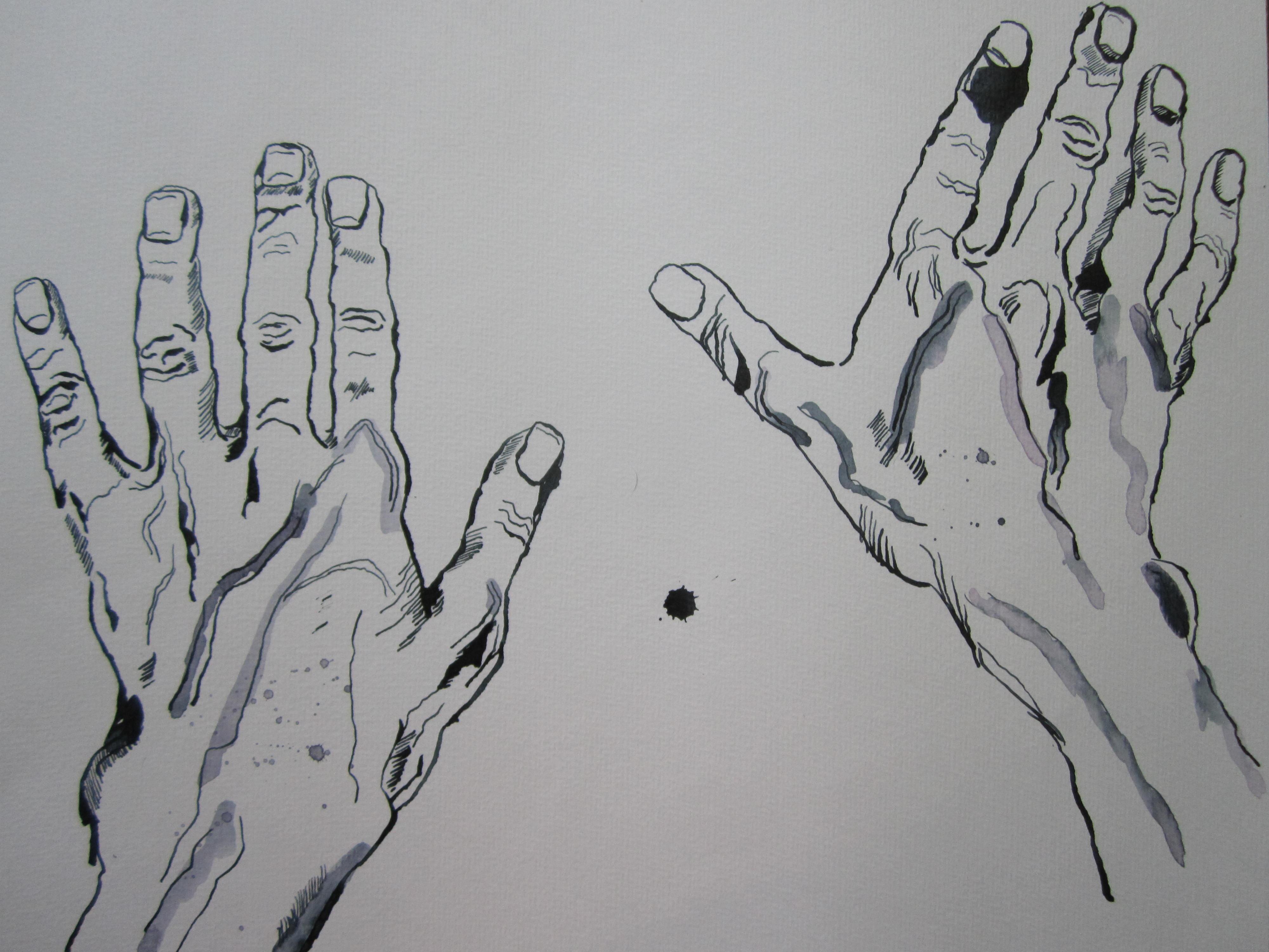 Entstehung Hände am Klavier - Zeichnung von Susanne Haun