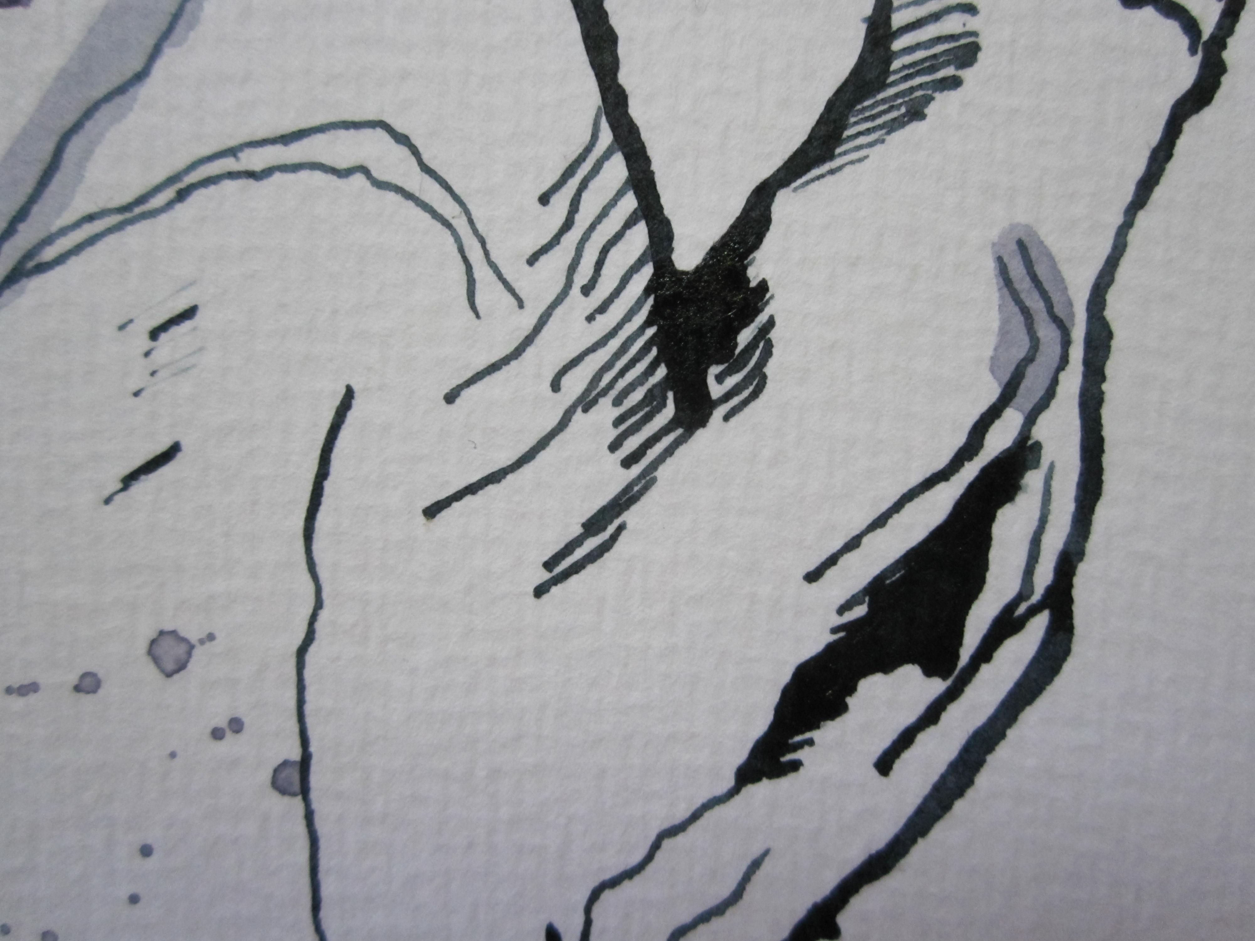 Ausschnitt 2 - Hände am Klavier - Zeichnung von Susanne Haun