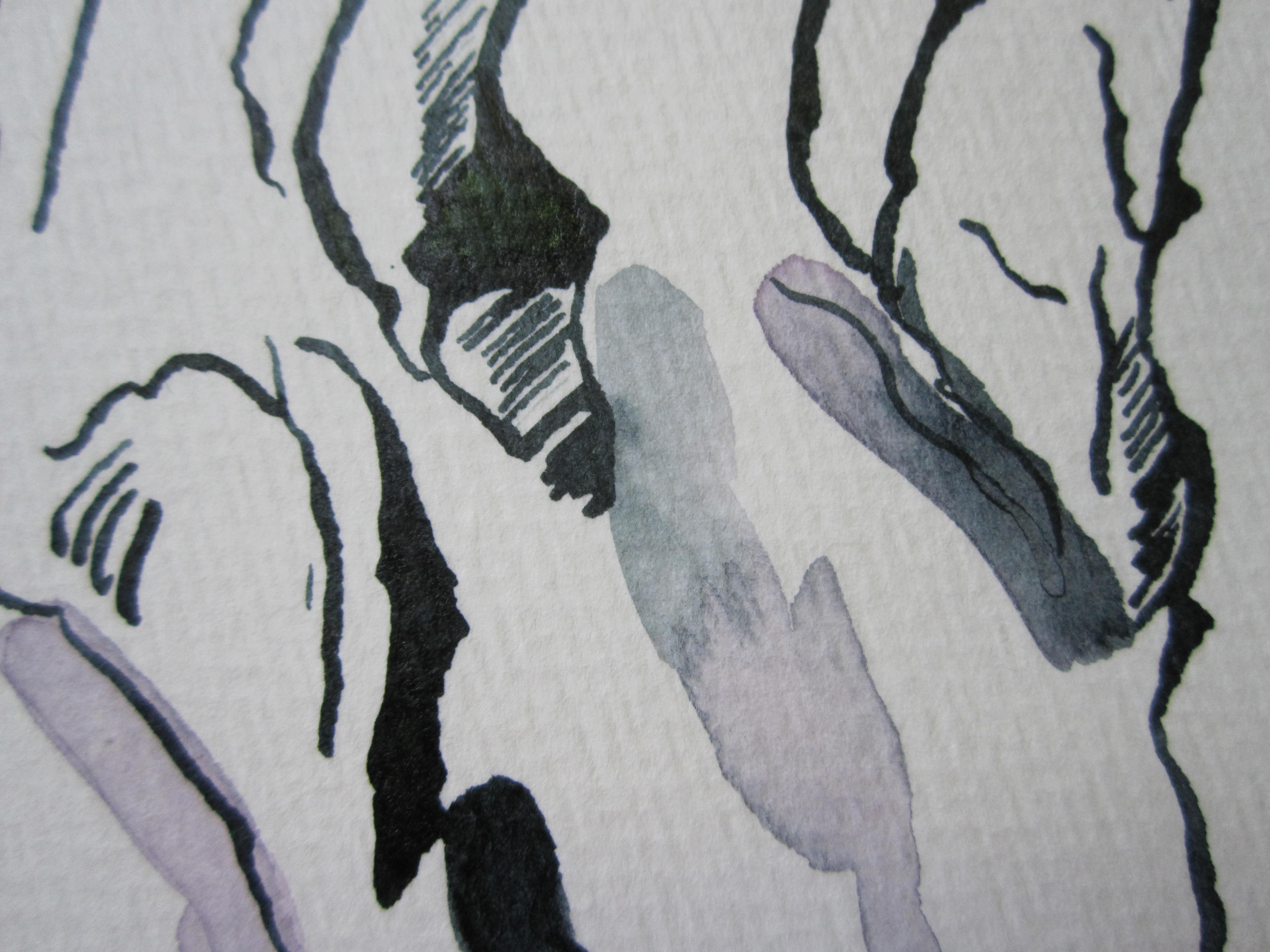 Ausschnitt 1 - Hände am Klavier - Zeichnung von Susanne Haun
