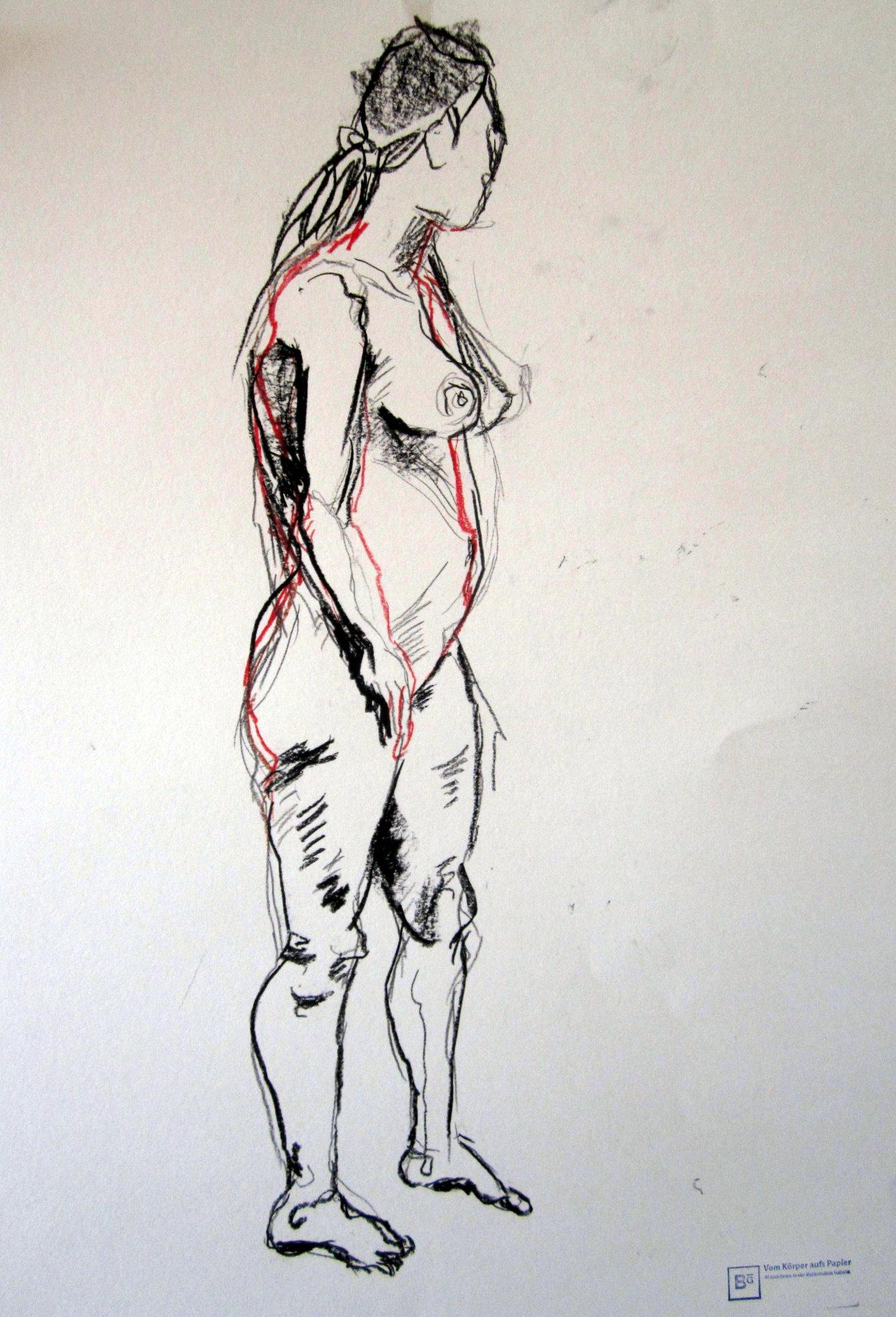 @1 - Stehender Akt - 80 € - Skizze von Susanne Haun - 70 x 50 cm - Kreide auf Papier - Gestempelt und Signiert