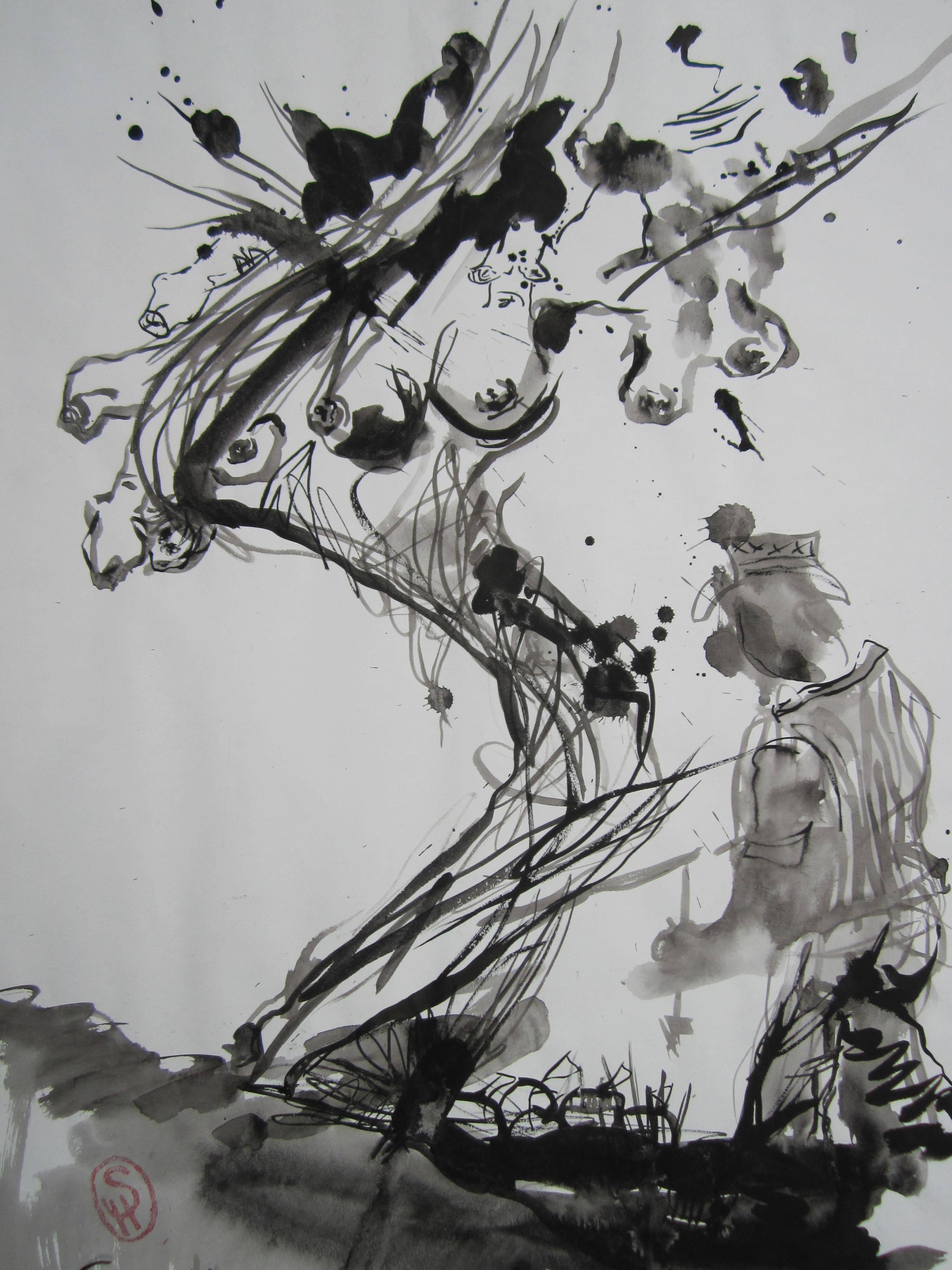 Bist du der Baum des Lebens? - Zeichnung von Susanne Haun - Tusche auf Wildseidenpapier - 70 x 50 cm - 2005