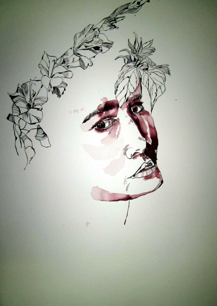 Gladiolen um meine Orphelia - Zeichnung von Susanne Haun