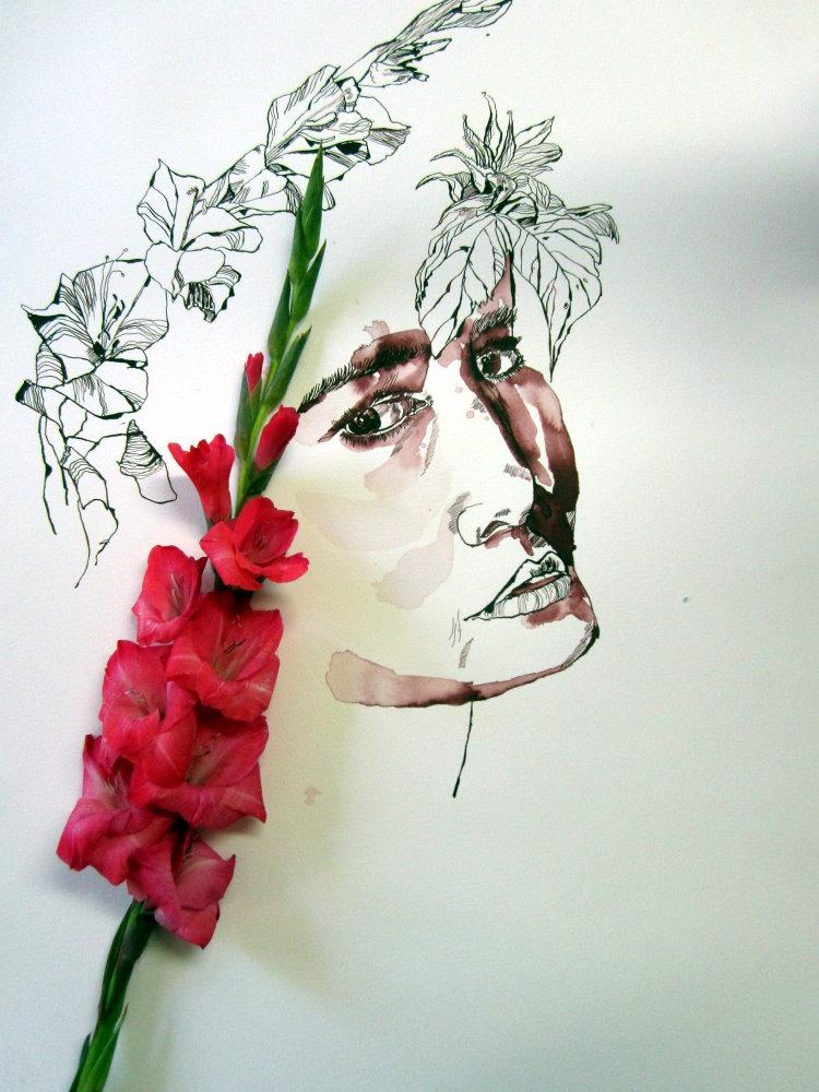 Marlies Gladiolen um meine Orphelia - Zeichnung von Susanne Haun