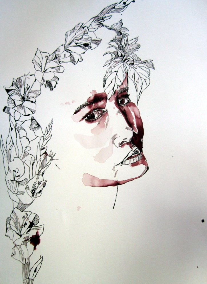 Entstehung Zeichnung Orphelia von Susanne Haun