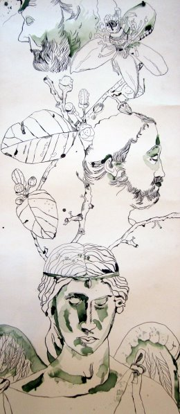 Aus dem Engel wächst die Zitrone und der Philosoph - Entstehung Zeichnung Susanne Haun - 1000 x 40 cm
