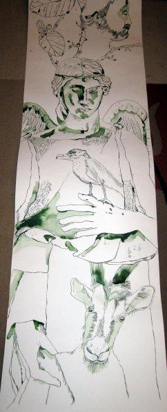 Eine Ziege in der anderen Hand des Engels - Entstehung Zeichnung Susanne Haun - 1000 x 40 cm