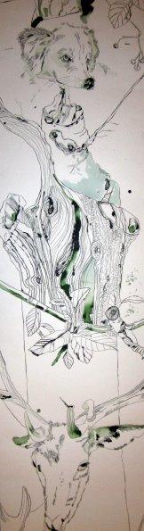 """Ausschnitt """"Leben"""" - Zeichnung von Susanne Haun - 1000 x 40 cm"""