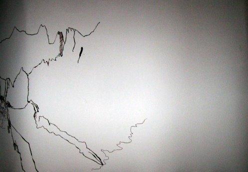 Ich beginne links mit dem Bergmassiv - Entstehung Zeichnung Bergengel von Susanne Haun