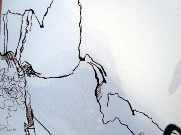 Verschiedene Linien ergeben ein bewegtes Bild - Entstehung Zeichnung Bergengel von Susanne Haun