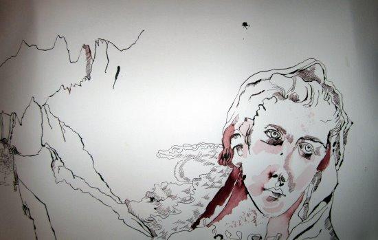 Entstehung Bergengel - Zeichnung von Susanne Haun - 40 x 60 cm - Tusche auf Bütten