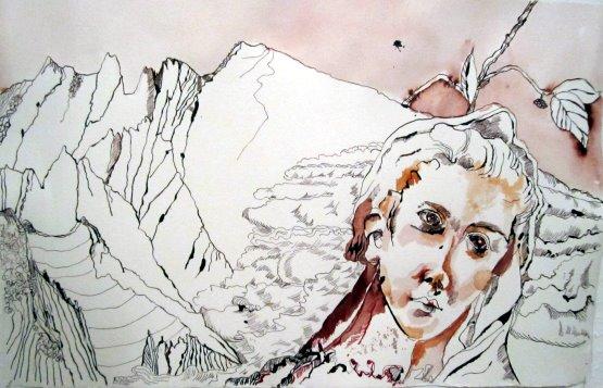 Bergengel - Zeichnung von Susanne Haun - 40 x 60 cm - Tusche auf Bütten