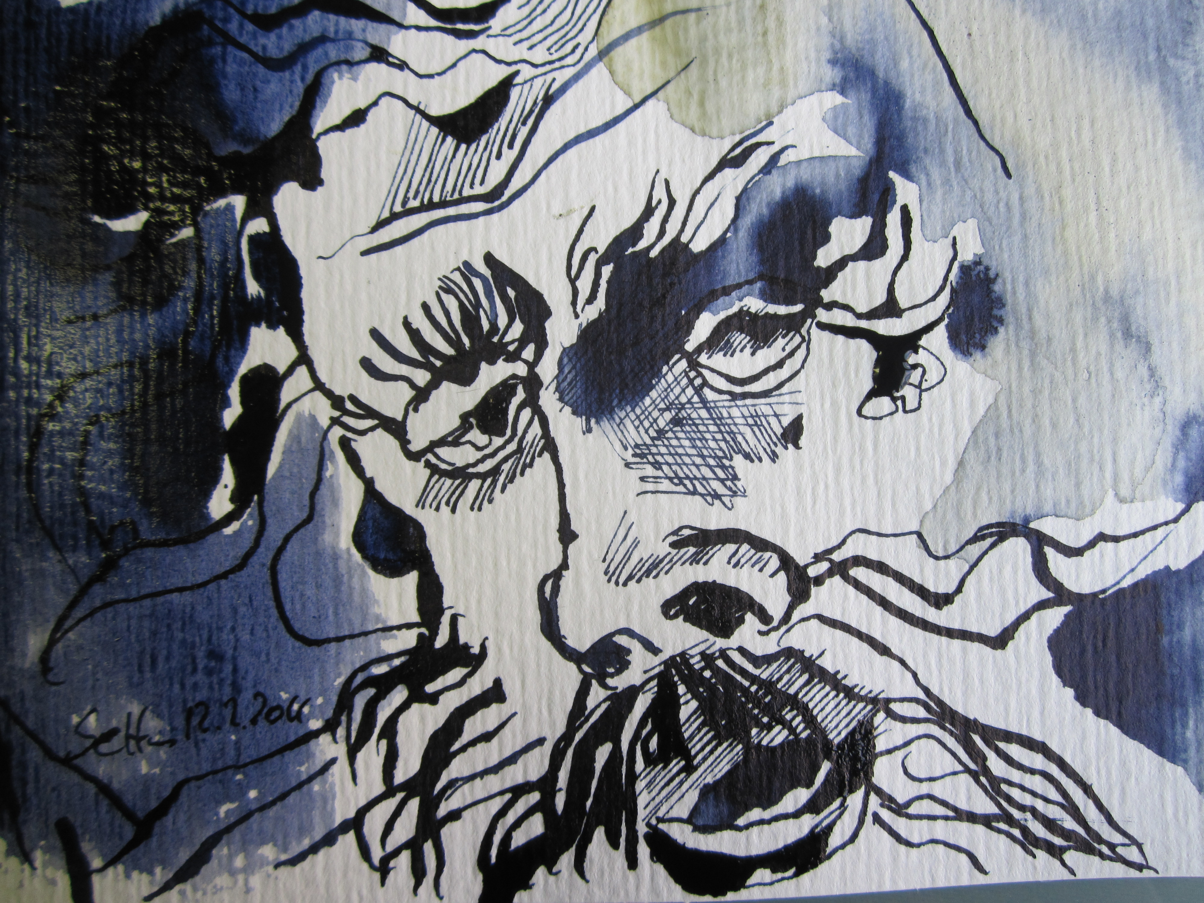 Kraft - Zeichnung von Susanne Haun - Tusche auf Hahnemühle Postkarte