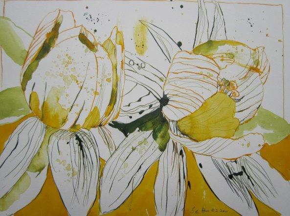 Winterlinge - Zeichnung von Susanne Haun - 30 x 40 cm - Tusche auf Bütten