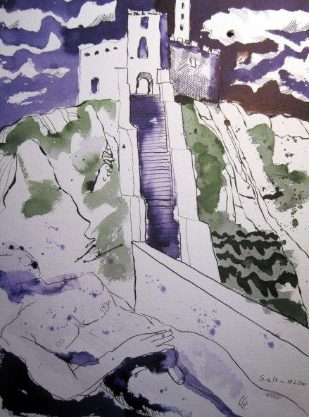 Vor dem Thor ihrer eigenen Behausung - Zeichnung von Susanne Haun - 40 x 30 cm - Tusche auf Bütten