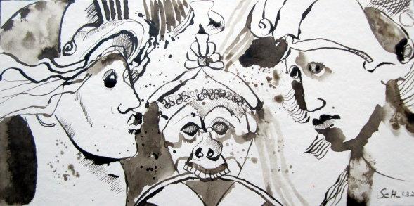 Streit - Zeichnung von Susanne Haun - 15 x 30 cm - Tusche auf Bütten