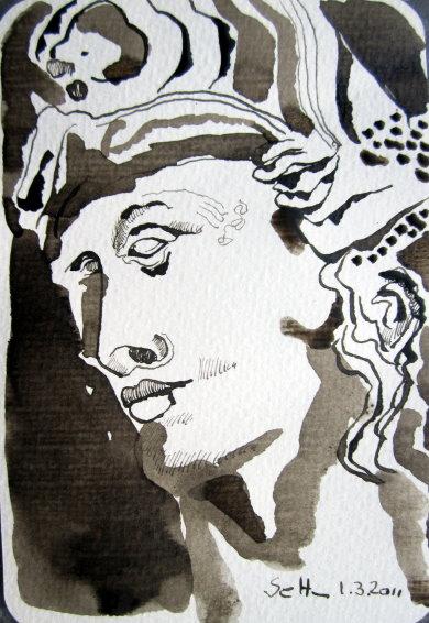 Ruhe nach dem Streit - Zeichnung von Susanne Haun - 15 x 10 cm - Tusche auf Bütten