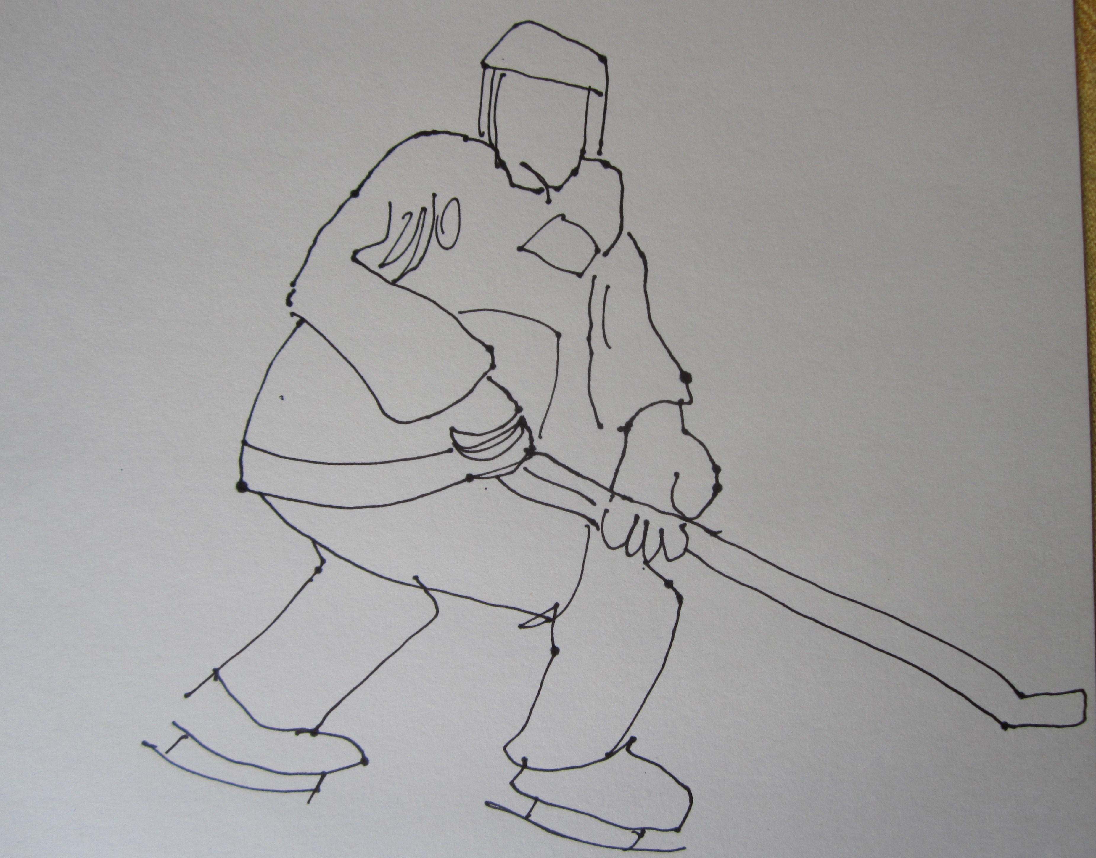 Eishockey - Skizze von Susanne Haun - Füllfederhalter auf Hahnemühle Skizzenpapier