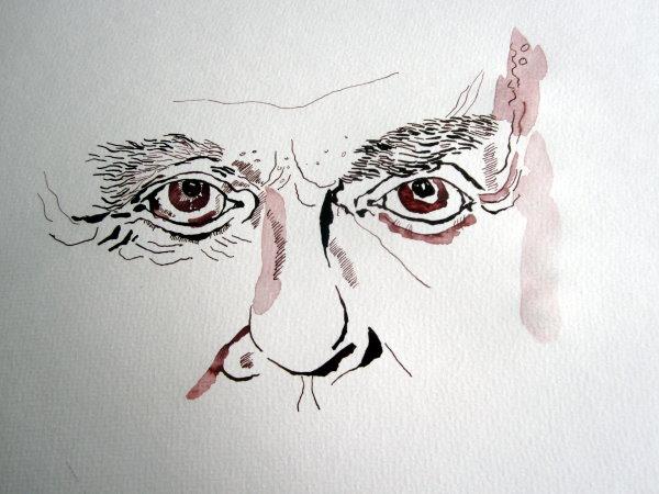 Harald Juhnke hatte buschige Augenbrauen - Zeichnung von Susanne Haun