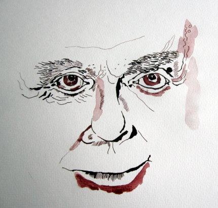 Harald Juhnke hatte ein verschmitztes Lächeln - Zeichnung von Susanne Haun