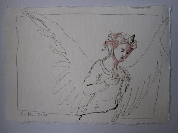 Erzengel Gabriel - Version 3 - Zeichnung von Susanne Haun - 20 x 15 cm - Tusche auf Bütten