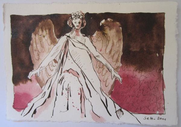 Semjasa lehrte die Beschwörungen - Zeichnung von Susanne Haun - 15 x 20 cm - Tusche auf Bütten