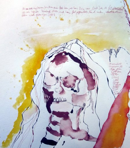"""Ich entscheide mich gelb wie das Höllenfeuer als Hintergrund - Ausschnitt aus der Rolle """"Das Buch Henoch"""" von Susanne Haun"""