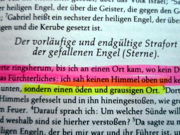 Meine heute gewählte Textpassage aus dem Buch Henoch - Foto von Susanne Haun