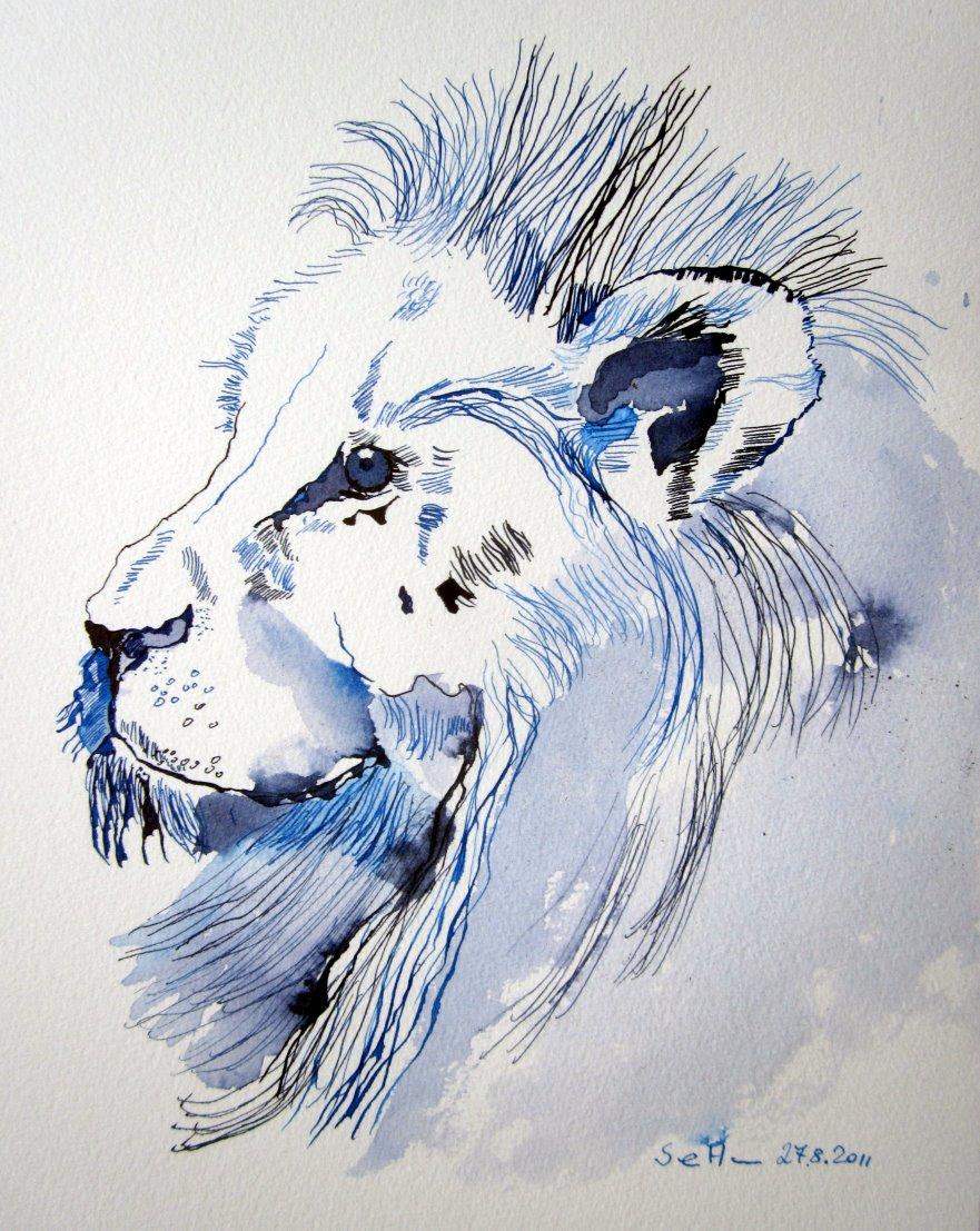 Blauer Löwe - Zeichnung von Susanne Haun - Tusche auf Bütten - 30 x 25 cm