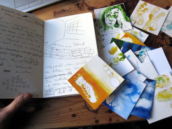Zuerst beginne ich mich mit Fotos zu ordnen bevor ich Montag die Wand bestücke - Foto von Susanne Haun