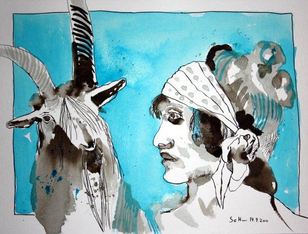 Von Angesicht zu Angesicht - Zeichnung von Susanne Haun - 30 x 40 cm - Tusche auf Bütten