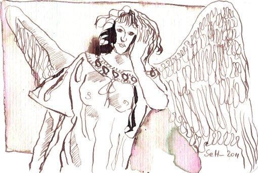 Nachdenklicher Engel - Zeichnung von Susanne Haun - Tusche auf Bütten - 10 x 15 cm