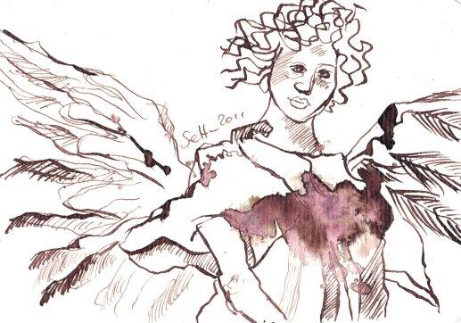 Fröhlicher Engel - Zeichnung von Susanne Haun - Tusche auf Bütten - 10 x 15 cm