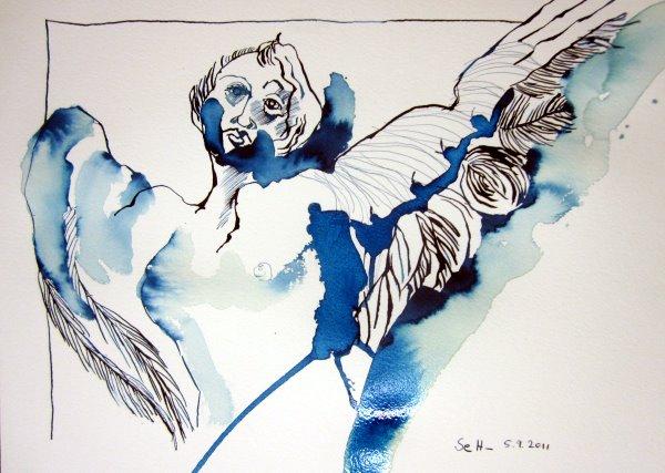 Portalengel - - Zeichnung von Susanne Haun - Tusche auf Bütten - 22 x 34 cm