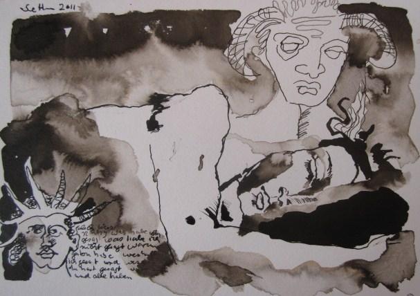 In der tiefsten Nacht - Zeichnung von Susanne Haun - Sepia auf Bütten - 17 x 22 cm