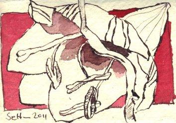 Amaryllis 1 - Zeichnung von Susanne Haun - 7,5 x 10,5 cm - Tusche auf Bütten