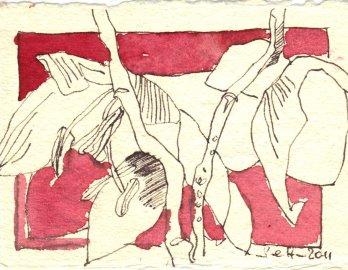 Zweig - Zeichnung von Susanne Haun - 7,5 x 10,5 cm - Tusche auf Bütten