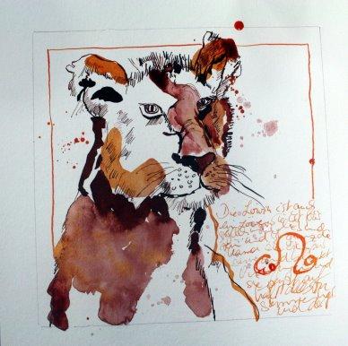 Löwin - Zeichnung von Susanne Haun - Tusche auf Bütten - 20 x 20 cm