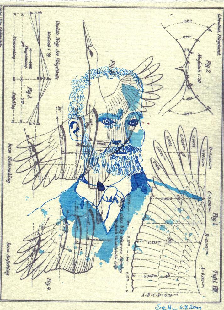 Otto Lilienthal - Blatt 2- Zeichnung von Susanne Haun - 20 x 30 cm - Tusche auf Bütten